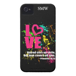 Love Proverbs Bible Verse Neon Paint Splatter iPhone 4 Case-Mate Case