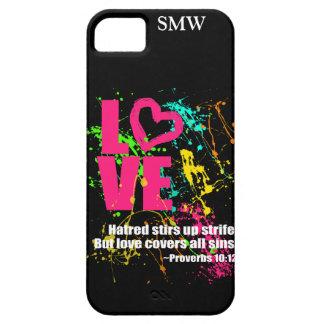 Love Proverbs Bible Verse Neon Paint Splatter iPhone SE/5/5s Case