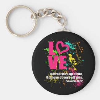 Love Proverbs Bible Verse Neon Paint Splatter Keychains