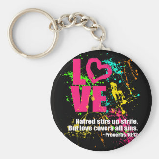 Love Proverbs Bible Verse Neon Paint Splatter Keychain