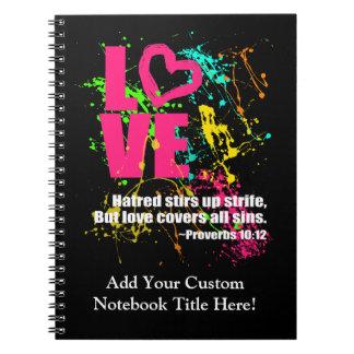 Love Proverbs Bible Verse Neon Paint Splatter Note Books