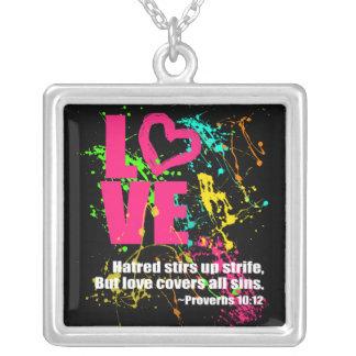 Love Proverbs Bible Verse Neon Paint Splatter Square Pendant Necklace