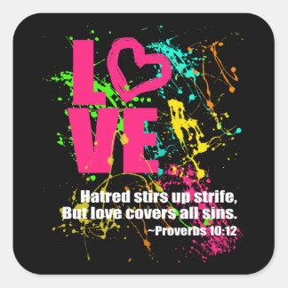 Love Proverbs Bible Verse Neon Paint Splatter Square Sticker