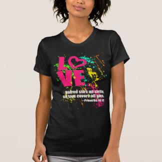 Love Proverbs Bible Verse Neon Paint Splatter T-Shirt