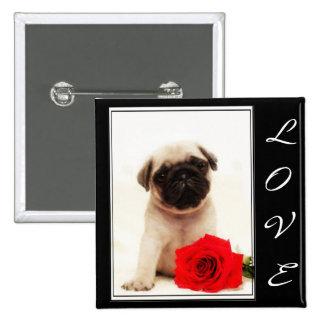 Love Pug puppy button
