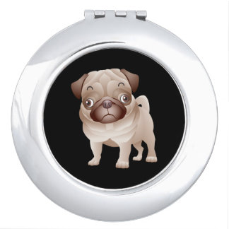 Love Pug Puppy Dog Black Mirror Compact Mirror For Makeup