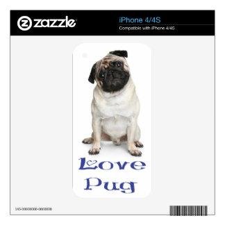 Love Pug Puppy Dog Blue Custom iphone 4 Skin