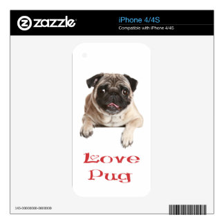 Love Pug Puppy Dog Custom iphone 4 Skin