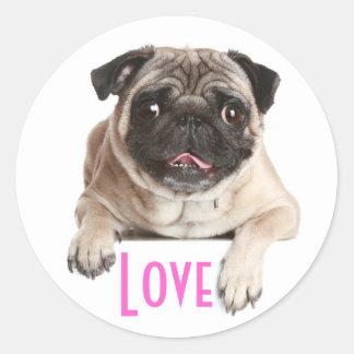 Love Pug Puppy Dog Greeting Stickers