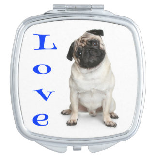 Love Pug Puppy Dog Mirror Compact Mirrors For Makeup