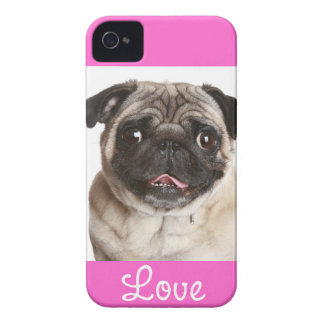 Love Pug Puppy Dog Pink  iPhone 4 Case Cover