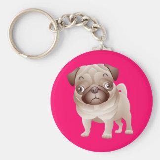 Love Pug Puppy Dog Pink Keychain