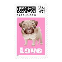 Love Pug Puppy Dog Pink US Postage Stamp