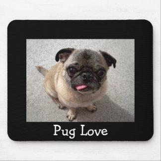 Love Pug Puppy Dog Portrait Black Mousepad