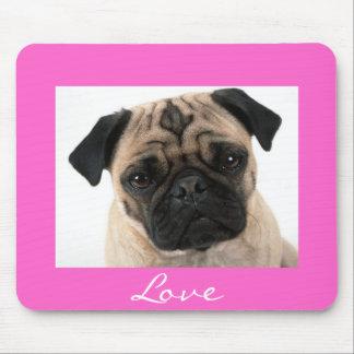 Love Pug Puppy Dog Portrait Pink Mousepad