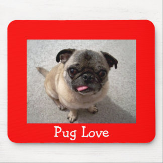 Love Pug Puppy Dog Portrait Red Mousepad