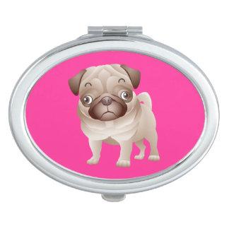 Love Pug Puppy Dog Purple Mirror Compact Makeup Mirror