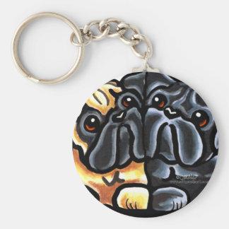 Love Pugs Basic Round Button Keychain