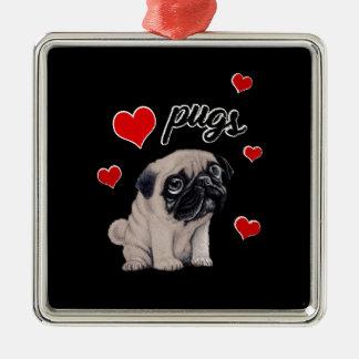 Love pugs metal ornament