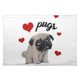 Love pugs placemat