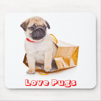 Love Pugs, Pug Puppy Dog in a Gift Bag Mousepad