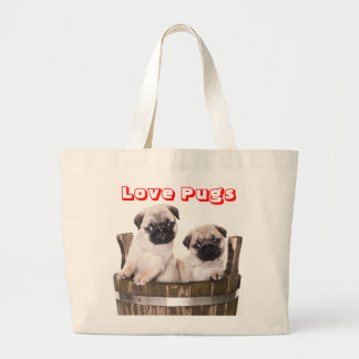 Love Pugs Puppy Dog in a Wooden Crate Barrel Tote