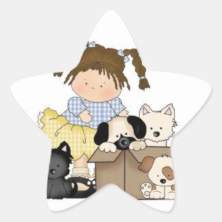Love Puppies Star Sticker
