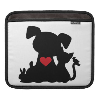 Love Puppy and Kitten Silhouette Sleeve For iPads