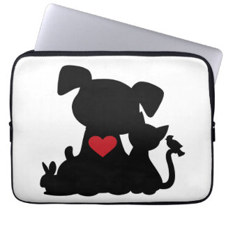 Love Puppy and Kitten Silhouette Computer Sleeve