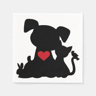 Love Puppy and Kitten Silhouette Standard Cocktail Napkin