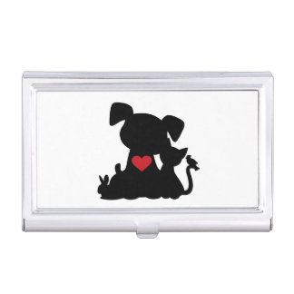 Love Puppy and Kitten Silhouette Business Card Cases