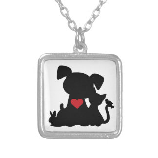 Love Puppy and Kitten Silhouette Square Pendant Necklace