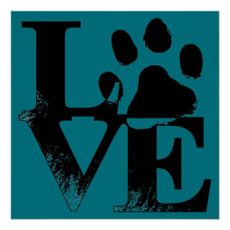 LOVE Puppy Dog Paw Print on Blue Background