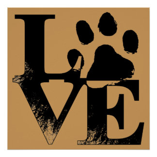 LOVE Puppy Dog Paw Print on Tan Background