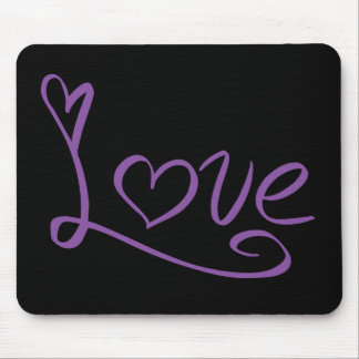 Love Purple And Black Hearts Mouse Pad