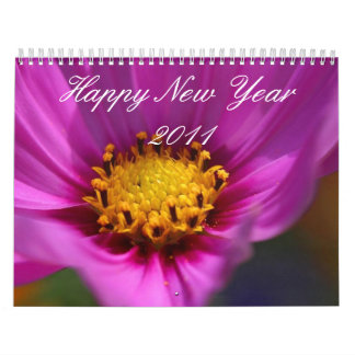 Love purple flower Happy New Year 2011 calendar