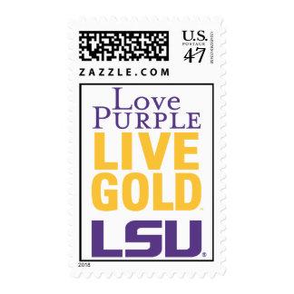 Love Purple Live Gold LSU Logo Postage