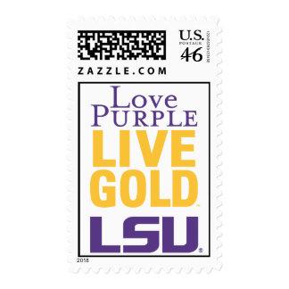 Love Purple Live Gold LSU Logo Stamp