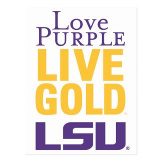 Love Purple Live Gold LSU Logo Postcard