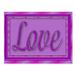 Love purple pink post cards