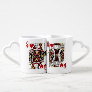 Love Queen and King of Hearts Mugs Couples' Coffee Mug Set