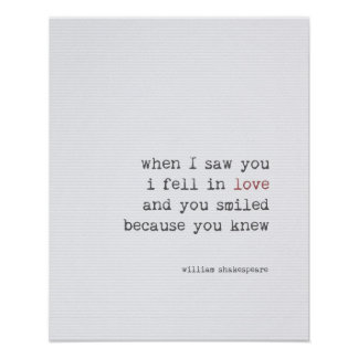 Love quote art typography Shakespeare Poster