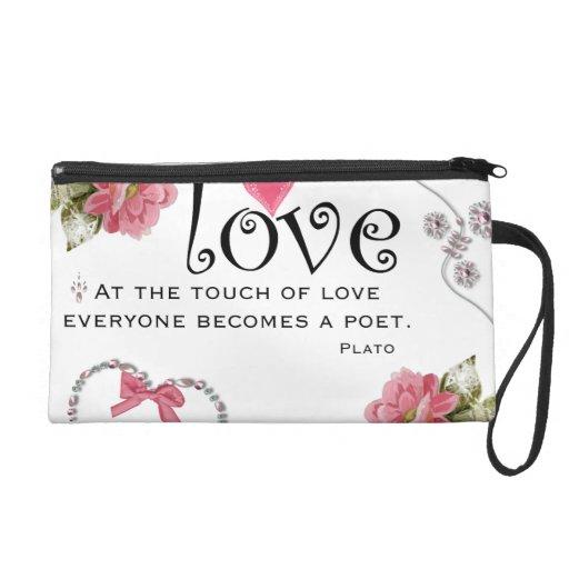 Love Quote Bagettes Bag Wristlet Purses