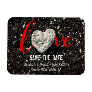"""""""Love"""" Quote Beach Coral Heart Photo Save the Date Magnet"""