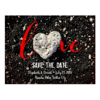 """""""Love"""" Quote Beach Coral Heart Photo Save the Date Postcard"""
