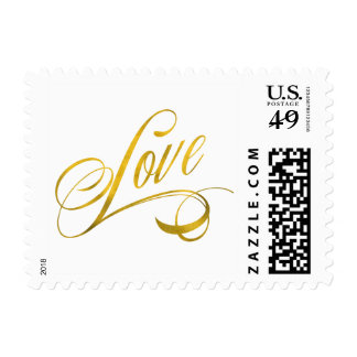 Love Quote Gold Faux Foil Quotes Metallic Wedding Postage Stamp