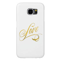 Love Quote Gold Faux Foil Quotes Metallic Wedding Samsung Galaxy S6 Case