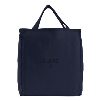 LOVE QUOTES EMBROIDERED TOTE BAG