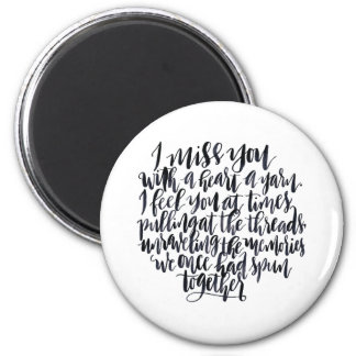 Love Quotes: I Miss You With A Heart Of Yarn 2 Inch Round Magnet