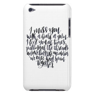 Love Quotes: I Miss You With A Heart Of Yarn iPod Touch Case